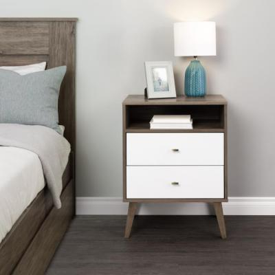 Milo 2-drawer Tall Nightstand with Open Shelf, Drifted Gray and White