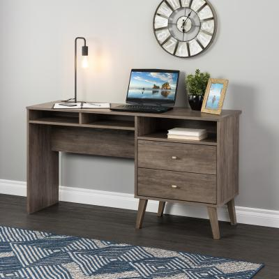 Milo Desk with Side Storage and 2 Drawers, Drifted Gray