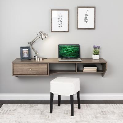 Modern Floating Desk with Drawer, Drifted Gray
