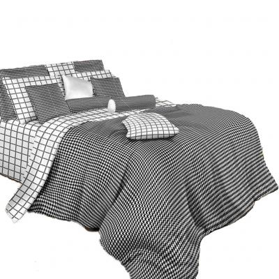Queen Size Duvet Cover Sheets Set, Black & White Check