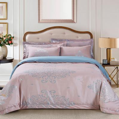 Jacquard Queen Duvet Cover Set Fitted Sheet Bedding | Dolce Mela DM504Q