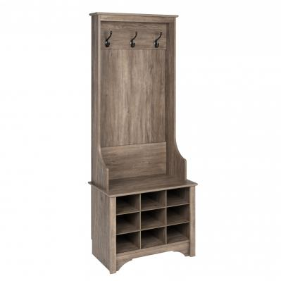 Narrow Hall Tree with 9 Shoe Cubbies, Drifted Gray