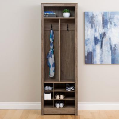 Space-Saving Entryway Organizer with Shoe Storage, Drifted Gray