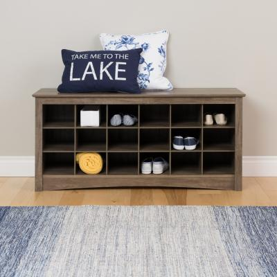 Shoe Cubbie Bench, Drifted Gray