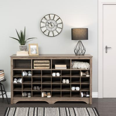 60 inch Shoe Cubby Console, Drifted Grey