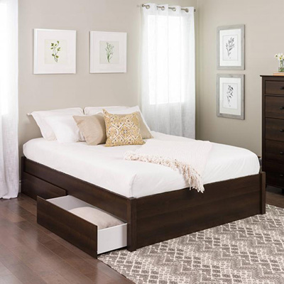 Queen Select 4-Post Platform Bed with 2 Drawers, Espresso