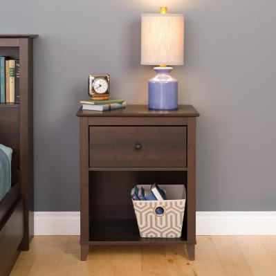 Yaletown 1-Drawer Tall Nightstand, Espresso