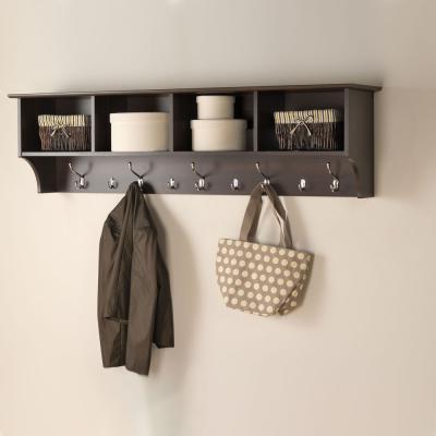 Espresso 60-inch Wide Hanging Entryway Shelf