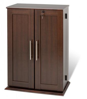 Espresso Locking Media Storage Cabinet with Shaker Doors