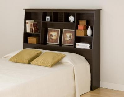 Espresso Full/Queen Tall Slant-Back Bookcase Headboard
