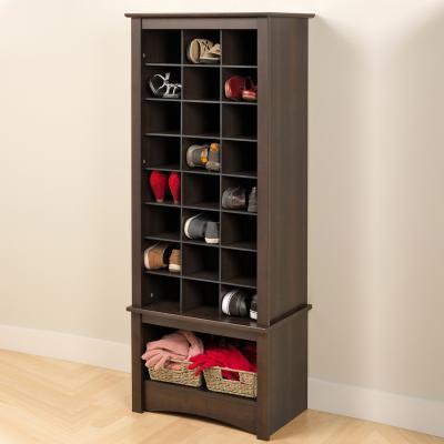 Espresso Tall Shoe Cubbie Cabinet