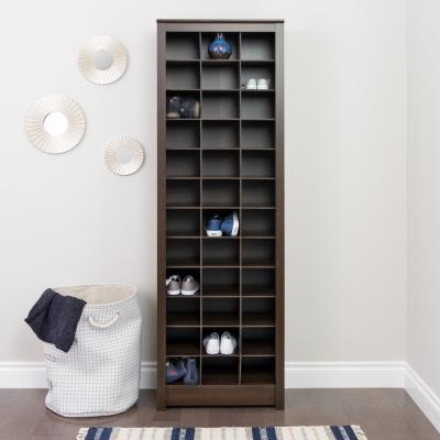 Espresso Space-Saving Shoe Storage Cabinet