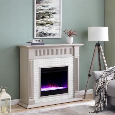Chessing Penny-Tiled Color Changing Fireplace