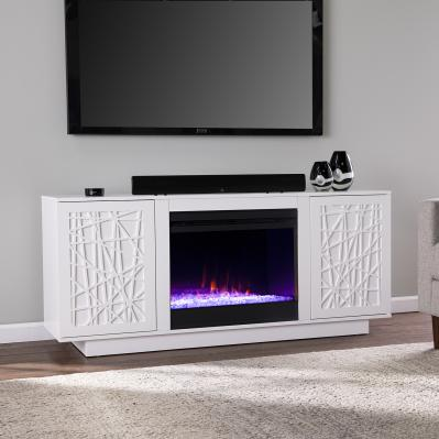 Delgrave Color Changing Fireplace w/ Media Storage
