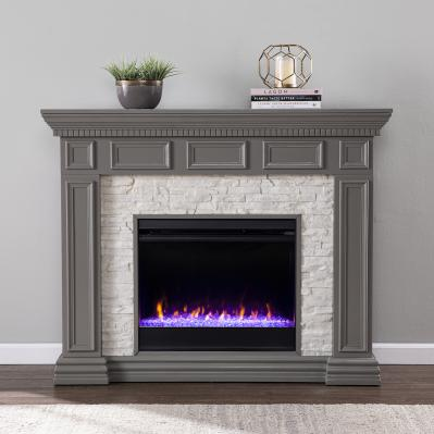 Dakesbury Color Changing Fireplace w/ Faux Stone