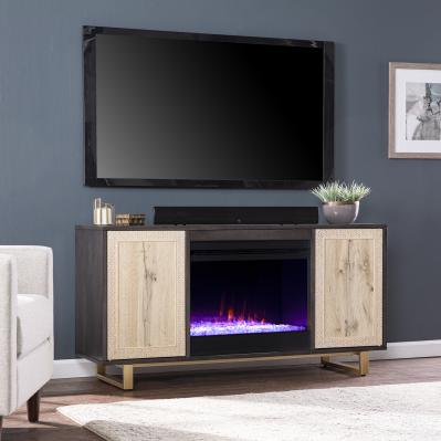 Wilconia Color Changing Fireplace w/ Media Storage and Carved Details