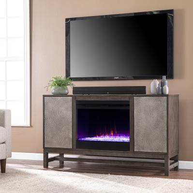 Lannington Color Changing Fireplace w/ Media Storage