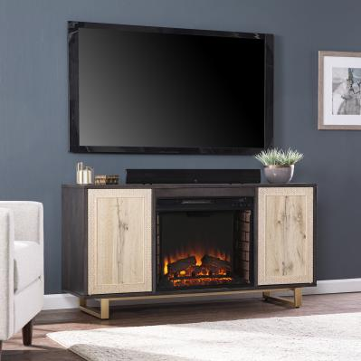 Wilconia Electric Media Fireplace w/ Carved Details