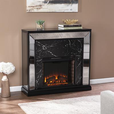 Trandling Mirrored Faux Marble Fireplace