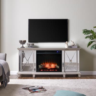Toppington Mirrored Electric Fireplace Media Console