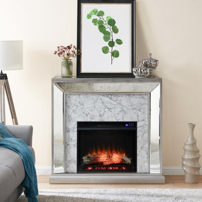 Trandling Mirrored Faux Marble Electric Fireplace