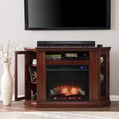 Claremont Electric Corner Fireplace w/ Storage- Cherry