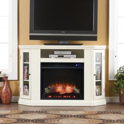 Claremont Electric Corner Fireplace w/ Storage - Ivory