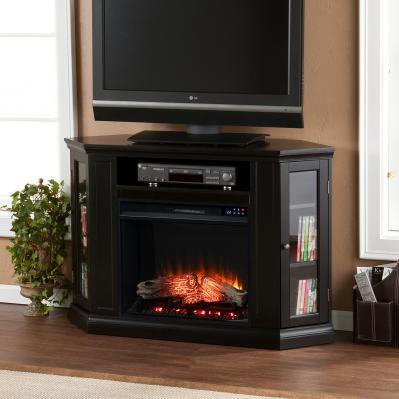 Claremont Electric Corner Fireplace w/ Storage - Black