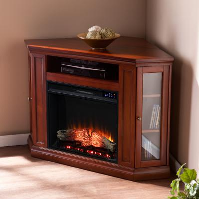Claremont Electric Corner Fireplace w/ Storage - Brown Mahogany