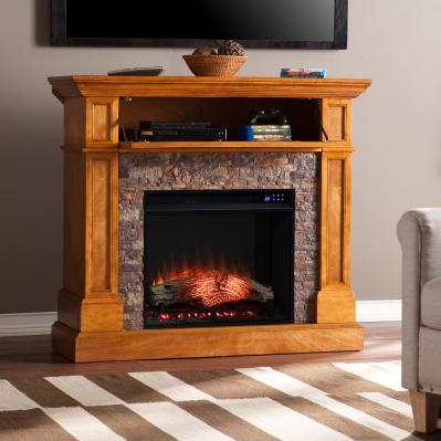 Rosedale Convertible Electric Fireplace w/ Faux Stone