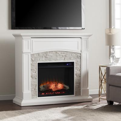 Seneca Electric Media Fireplace - White