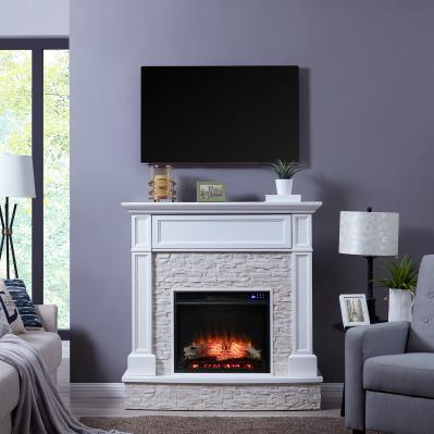 Jacksdale Electric Media Fireplace w/ Faux Stone