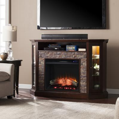 Redden Corner Convertible Electric Fireplace w/ Storage - Espresso