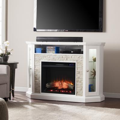 Redden Corner Convertible Electric Fireplace w/ Storage - White