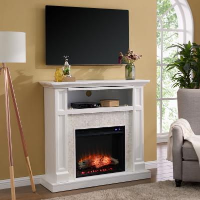 Nobleman Electric Media Fireplace w/ Tile Surround