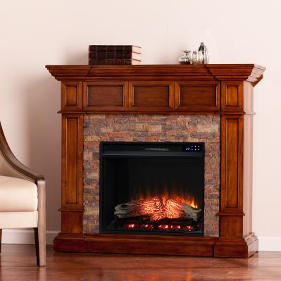 Merrimack Electric Convertible Fireplace w/ Faux Stone - Buckeye Oak