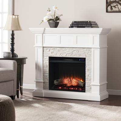 Merrimack Electric Convertible Fireplace w/ Faux Stone - White