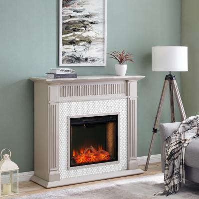 Chessing Penny-Tiled Fireplace w/ Alexa-Enabled Smart Firebox
