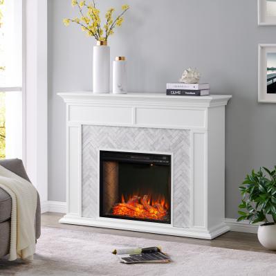 Torlington Tiled Marble Fireplace Mantel w/ Alexa Firebox