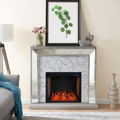 Trandling Mirrored Smart Fireplace w/ Faux Stone