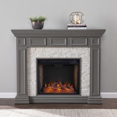 Dakesbury Alexa Smart Fireplace w/ Faux Stone