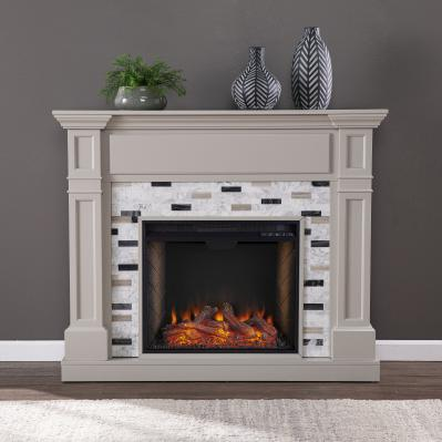 Birkover Alexa Smart Fireplace w/ Marble Surround