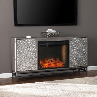 Hollesborne Alexa Smart Fireplace w/ Media Storage