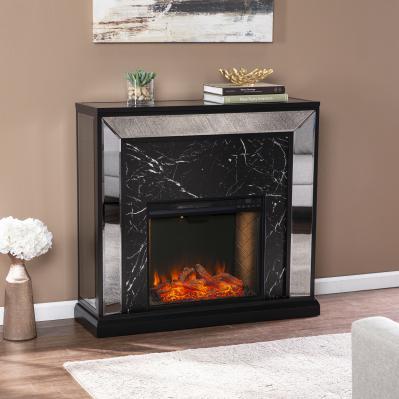 Trandling Mirrored Faux Marble Alexa Smart Fireplace