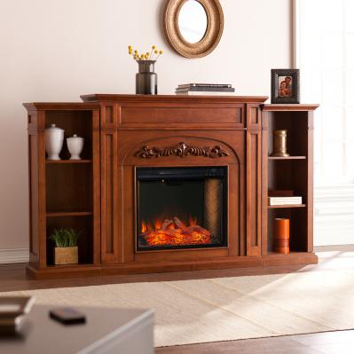 Chantilly Alexa-Enabled Smart Fireplace w/ Bookcases
