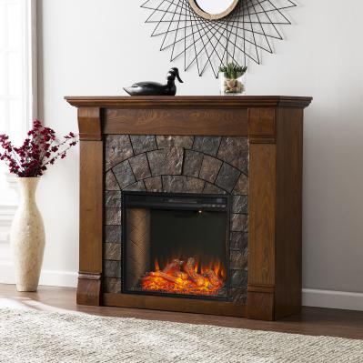 Elkmont Faux Stone Smart Electric Fireplace