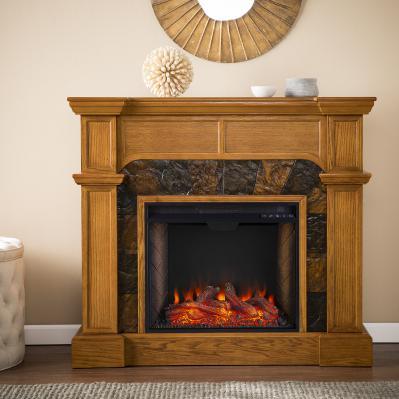 Cartwright Corner Convertible Smart Fireplace w/ Faux Stone Surround