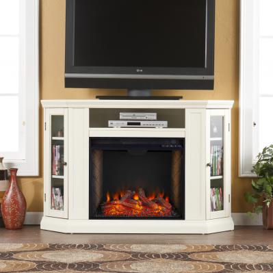 Claremont Smart Corner Fireplace w/ Storage - Ivory