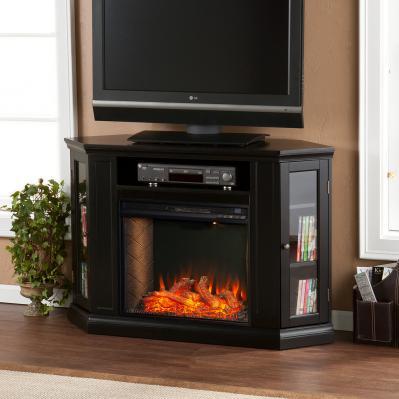 Claremont Smart Corner Fireplace w/ Storage - Black