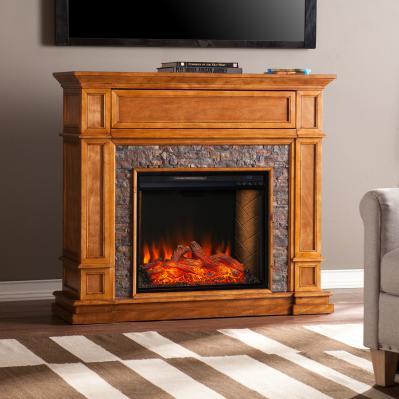 Belleview Smart Media Fireplace w/ Faux Stone